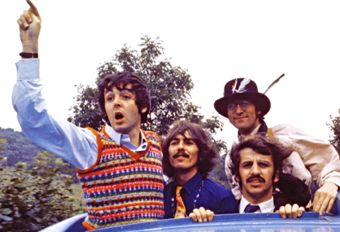 the four beatles atop bus in magical mystery tour