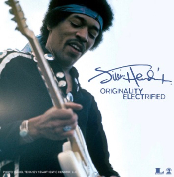 Jimi Hendrix plays psychedelic music