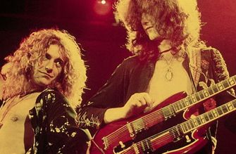 Plant and Page in concert with Led Zeppelin