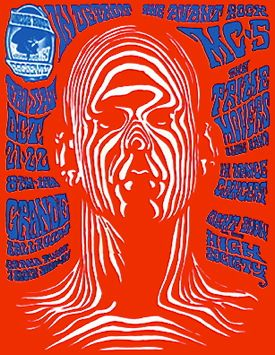Gary Grimshaw poster for Detroit MC5 concert