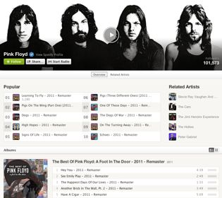 pink floyd page on Spotify