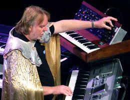 Rick Wakeman with Moog synthesizer